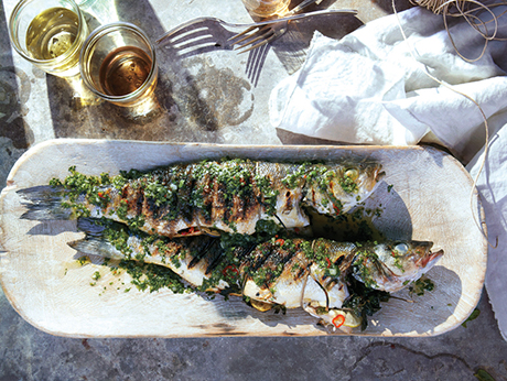 Grilled Branzino With Cilantro-Mint Relish Recipe